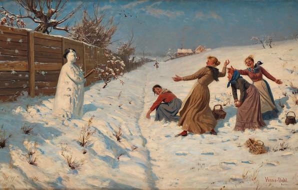 Picture Norwegian painter, Hans Dahl, Hans Dahl, Norwegian painter, Throwing snowballs, Throwing snowballs