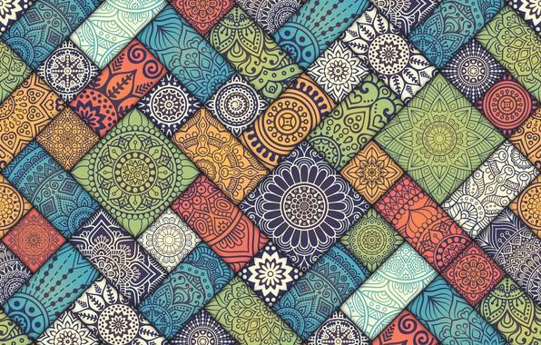 Picture Colorful, pattern, Vintage, tiles, floral, diagonal