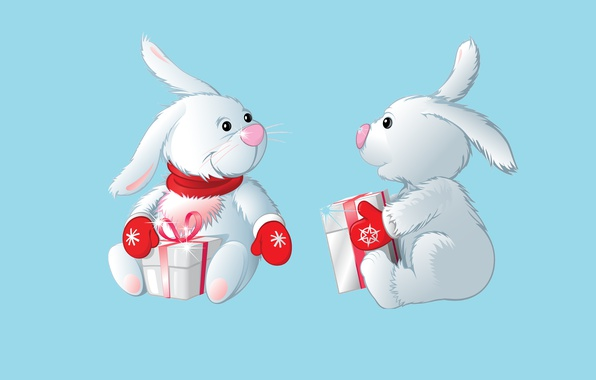 Picture mood, holiday, new year, art, gifts, Bunny, mittens