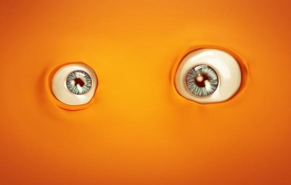 Picture minimalism, eyes, orange, artist, digital art, artwork, Links