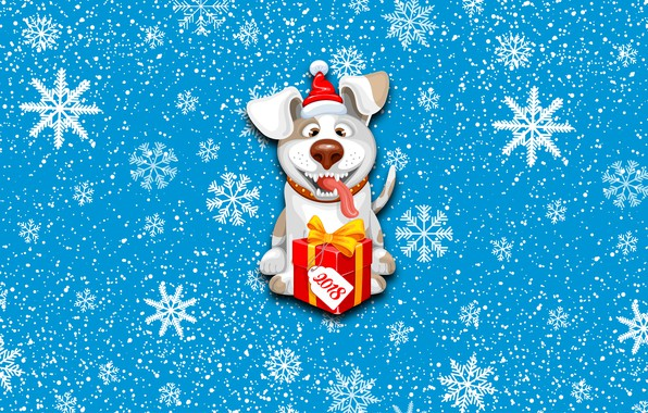 Picture Winter, Minimalism, Dog, Snow, Background, New year, Holiday, Mood, 2018, Gift, The Year Of The …