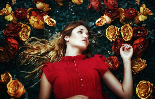 Picture girl, flowers, pose, mood, roses, Fernanda Finsterbush
