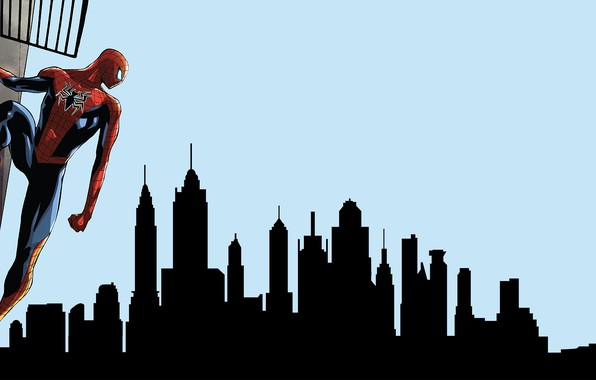 Picture The sky, New York, The city, Costume, Building, City, Hero, Mask, Comic, The Statue Of …