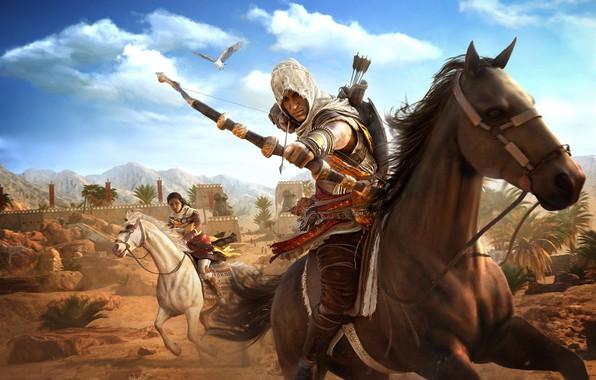 Picture weapons, eagle, desert, horse, bow, Egypt, assassin, Assasin, Assassin's Creed Origins