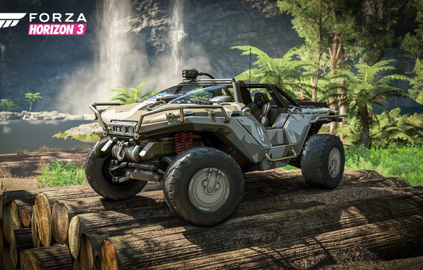 Picture car, Halo, game, river, trees, jungle, race, speed, waterfall, crossover, Forza Horizon, vehicle, vegetation, trunks, …