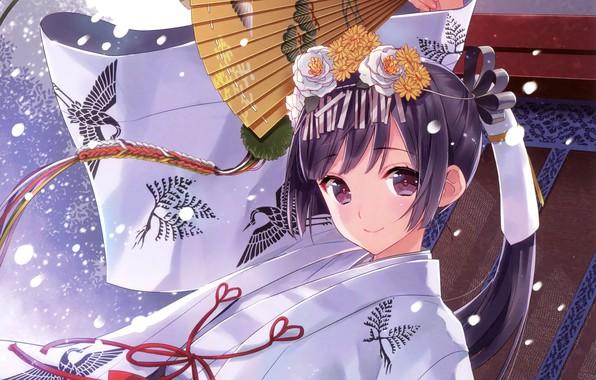 Picture girl, anime, fan, art, yukata