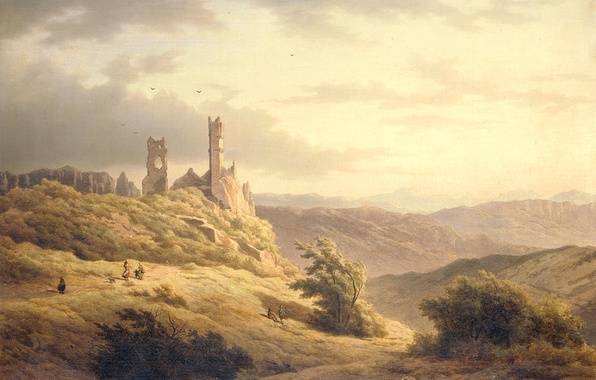 Photo wallpaper picture, Louwrens Hanedoes, Mountain Landscape with Ruins