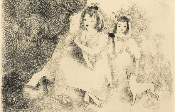 Picture flowers, girls, dogs, Modern, etching, Marie Laurencin, Baby lock