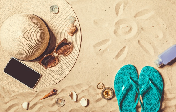 Photo wallpaper sand, sea, beach, the sun, hat, glasses, summer, beach, sand, slates, vacation