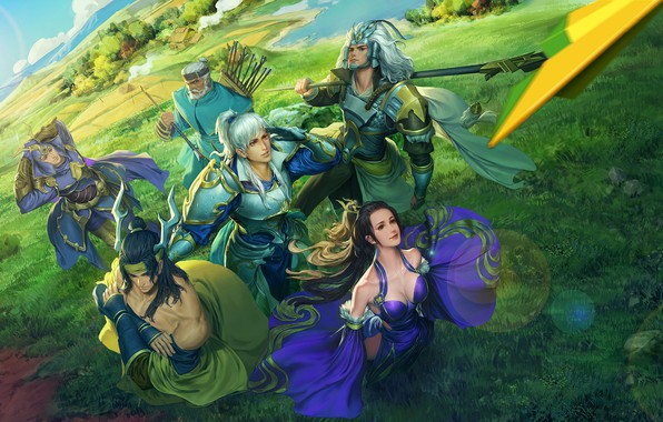 Wallpaper anime, fantasy, art, heroes, squad, seunghee lee