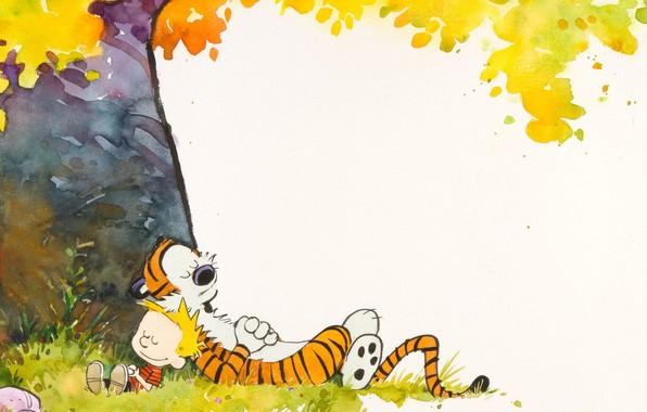 Picture tiger, tree, boy, Comic, sleep, lie, Calvin and Hobbes, Calvin and Hobbes, Hobbs, Calvin, tiger …