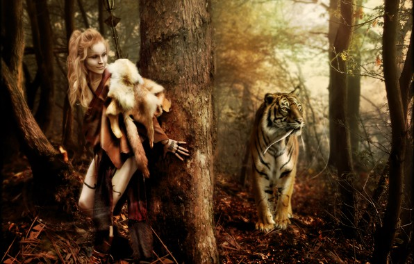 Picture forest, tiger, woman, Digital Art, brandrificus, lets play hide and seek