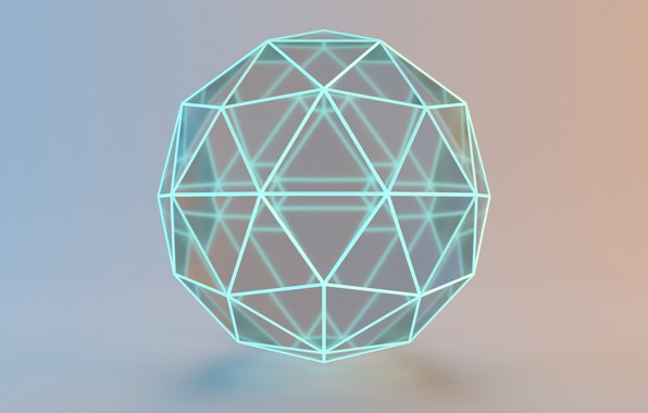 Picture glass, glow, light, glass, rendering, blender3d, блендер3d, ecosfera, icosphere