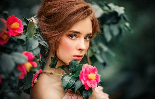 Picture look, leaves, flowers, branches, model, portrait, makeup, garden, hairstyle, brown hair, beauty, bokeh, Alexander, Olga …