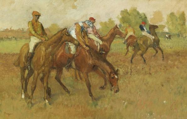 Photo wallpaper picture, horse, rider, genre, Edgar Degas, Edgar Degas, Before The Race