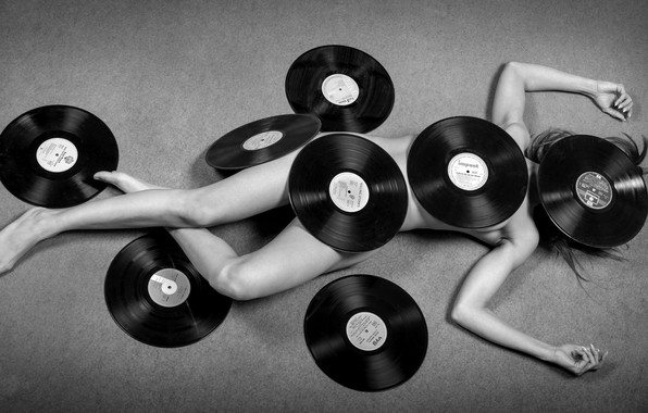 Picture girl, music, vinyl, records