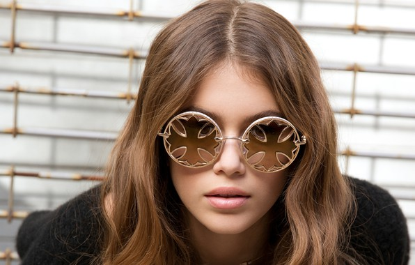 Picture girl, face, sweetheart, glasses, lips, beautiful, Kaia Gerber