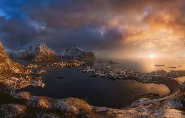 Picture sea, Islands, light, snow, mountains, rocks, Norway, the village, Scandinavia, The Lofoten Islands, The Norwegian ...
