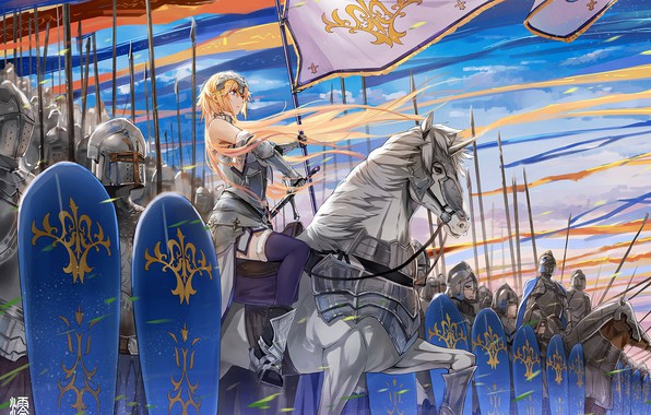Picture soldiers, armor, anime, army, flags, artwork, warriors, swords, spears, knight, pearls, banner, anime girl, shields, …