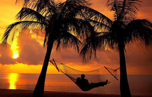 Wallpaper Relax Girl Beach Twilight Sky Trees Sea