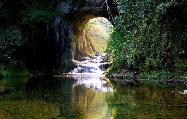 Picture greens, water, stream, stones, rocks, waterfall, moss, Japan, arch, the bushes, Kimitsu, Nomizo Falls