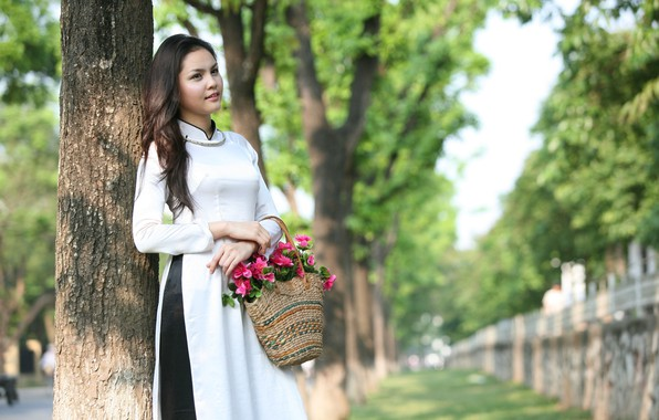 Picture girl, flowers, basket, dress, Asian, Vietnamese