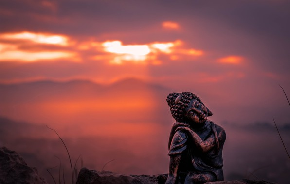 Picture the sky, macro, sunset, figurine, Buddha, figure