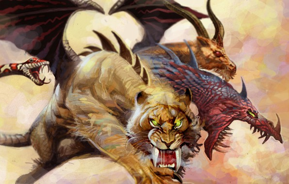 Picture snake, monster, tiger, wings, lion, predator, dragon, mythology, goat, claws, scales, chimera, tusks, tora