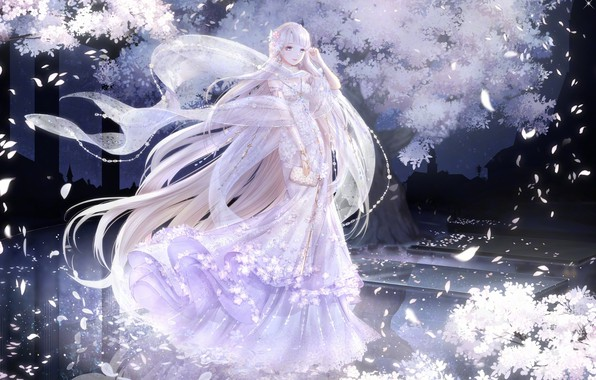 Picture girl, night, the wind, petals