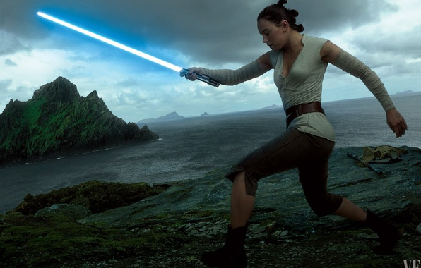 Picture cinema, Star Wars, red, black, woman, stars, movie, film, jedi, Rey, Daisy Ridley, light saber, …