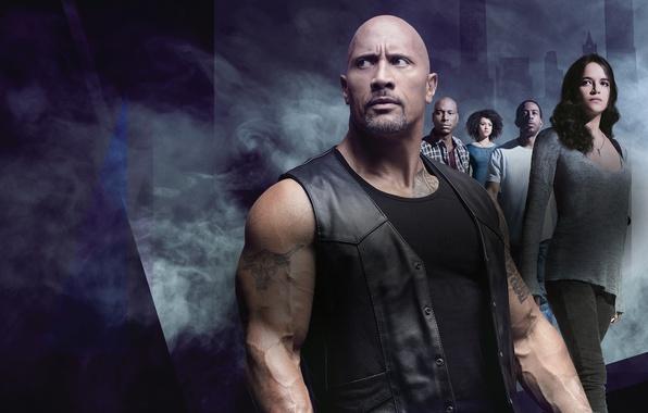 Picture background, smoke, action, poster, Michelle Rodriguez, Dwayne Johnson, Dwayne Johnson, Michelle Rodriguez, Ludacris, Tyrese Gibson, …