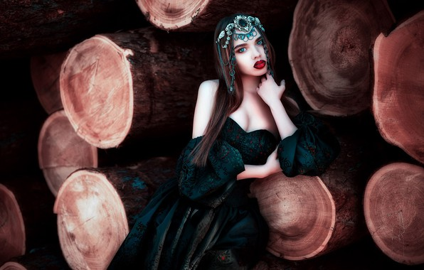 Picture style, model, makeup, dress, lipstick, neckline, decoration, sponge, logs, Maria Lipina, Lana Nikolaev