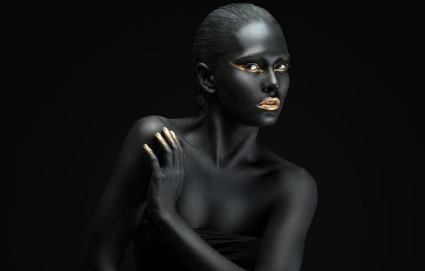 Picture black, fashion, Golden, make up