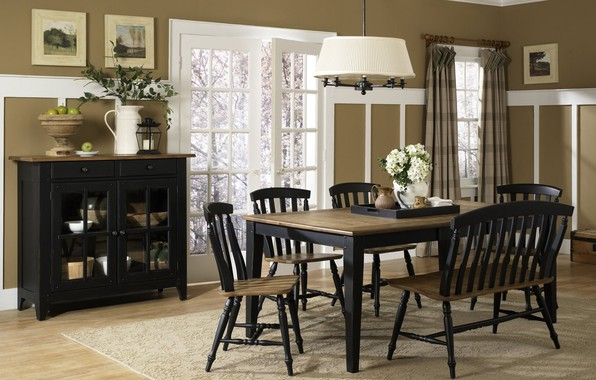 Picture flowers, table, chairs, interior, vase, dining room