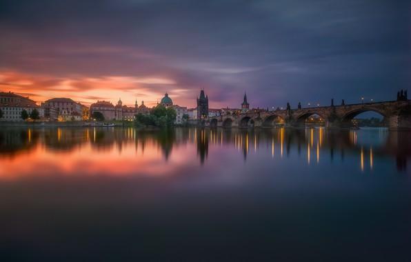 Picture bridge, the city, lights, surface, river, the evening, morning, Prague, Czech Republic