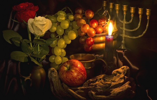 Picture Apple, roses, candle, grapes, fruit, candle holder