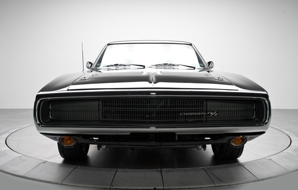 Picture machine, classic, the front, Dodge Charger, black.