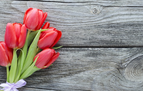Picture flowers, bouquet, red, fresh, wood, pink, flowers, beautiful, romantic, tulips, red tulips