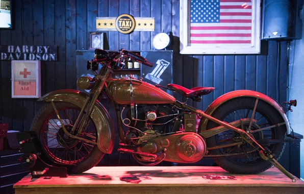 Picture style, retro, motorcycle, Harley Davidson, bike