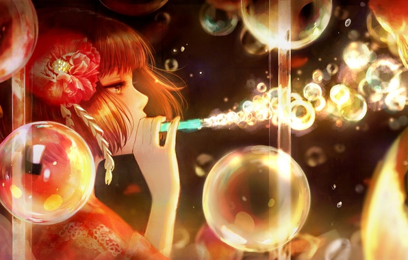 Picture flower, girl, bubbles, anime, art, profile, romiy