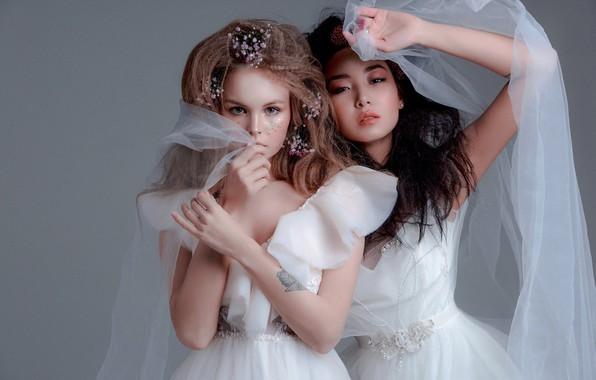 Picture style, two girls, model, veil, wedding dress, bride, Anastasia Shcheglova, Anastasia Shcheglova, Love Subbotina