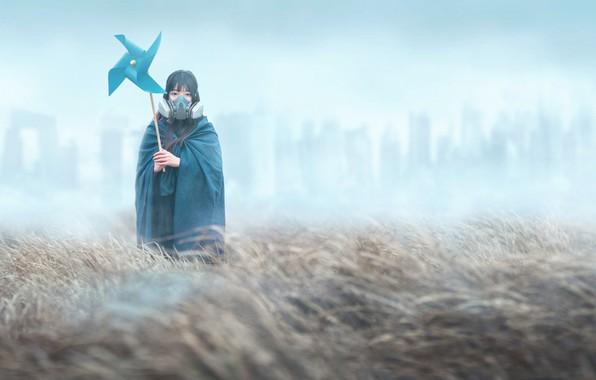 Picture girl, fog, gas mask, cloak