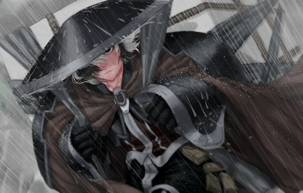 Picture character, rain, hat, anime, digital art, artwork, Samurai, manga, cape, anime girl