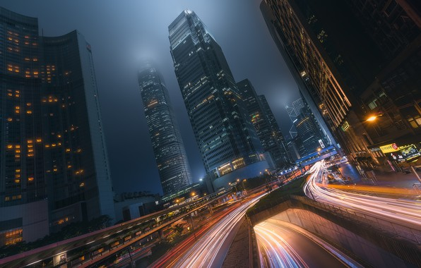Picture light, night, the city, movement, excerpt, China, Hong Kong