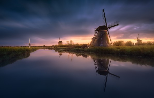 Picture water, surface, channel, Netherlands, windmills