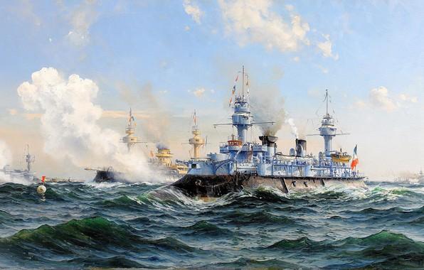 Picture sea, wave, clouds, Navy, Cruiser, Herman Gustav Sillen