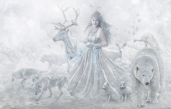 Picture animals, girl, animals, deer, bear, wolves