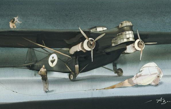 Picture parachute, pilots, Flying Crocodile., Arusha Vozmus, Ex-Print