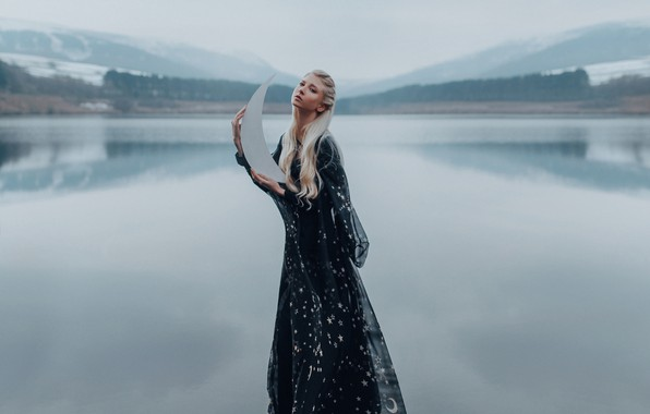 Picture water, lake, mood, model, the situation, a month, dress, Maria Amanda, Bird Man