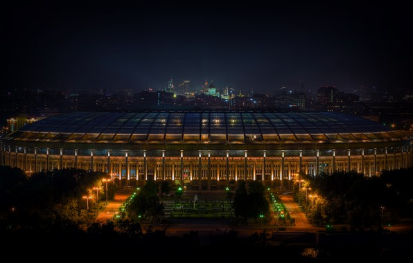 Picture Night, The city, Sport, Light, Football, Moscow, Russia, Stadium, Luzhniki, The Main Stadium, Stadium of …